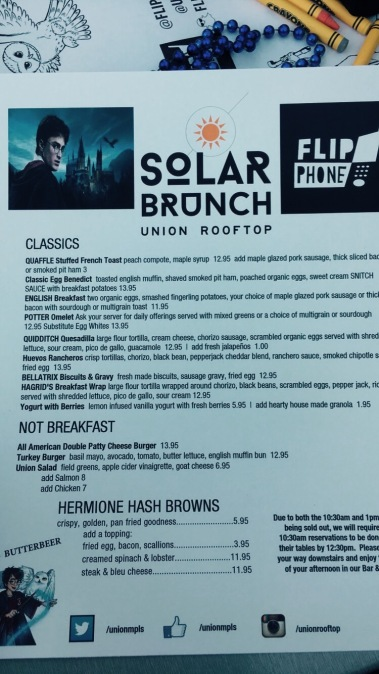Hogwarts and Hashbrowns Brunch Menu
