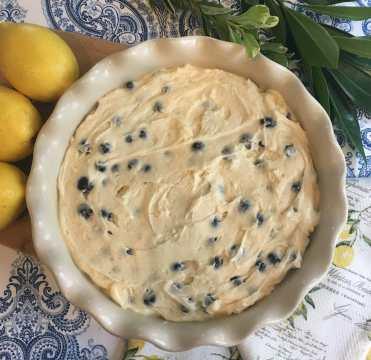 Sunrise Lemon Blueberry Cake Batter in Pan