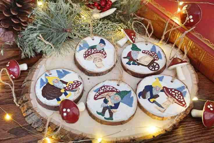 Tomtes with Mushrooms Ornaments